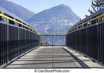 Mountain view from a bridge