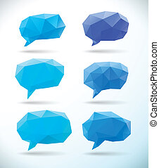 Set of polygonal geometric speech bubble - Set of low poly...