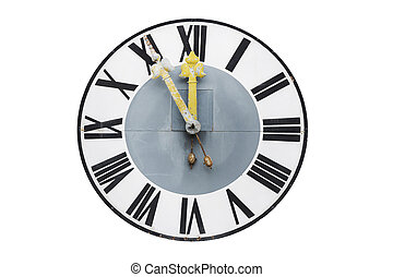 Old church clock on white background