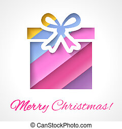 Colorful Merry Christmas greeting card with gift box
