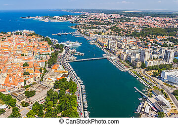 Zadar aerial - Aerial shot of Zadar old town, famous tourist...
