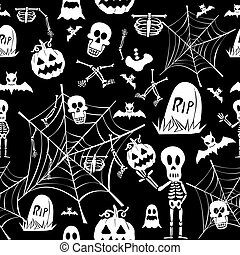 Happy Halloween white elements seamless pattern background. EPS10 Vector file organized in layers for easy editing.