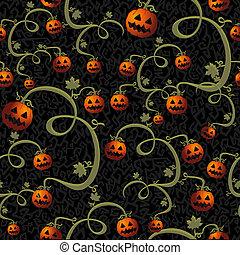 Halloween spooky pumpkins lanterns seamless pattern...