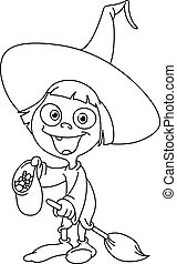 Outlined witch kid - Outlined trick or treating witch girl
