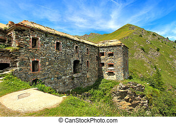 Military alpine fort in Alps, Italy - Old abandoned military...