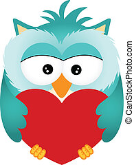 Owl with Heart - Scalable vectorial image representing a owl...