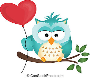 Owl with Heart Balloon - Scalable vectorial image...