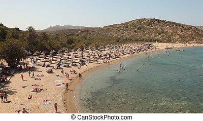 Vai Beach, Crete, Greece - palm beach of Vai in Crete,...