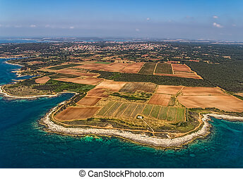Istria - Aerial shoot of shore of Istria near Pula