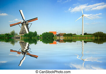 old and new wind energy - Historic and modern  wind energy