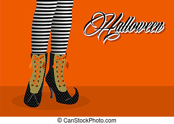 Happy Halloween spooky witch legs illustration EPS10 file. -...