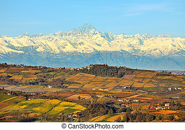 Hills and mountains. Piedmont, Italy. - View of autumnal...