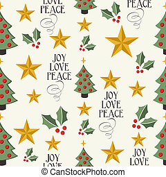 Merry Christmas tree, stars and mistletoe seamless pattern background. EPS10 vector file organized in layers for easy editing.