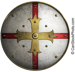 Round medieval shield with golden cross - Round medieval...