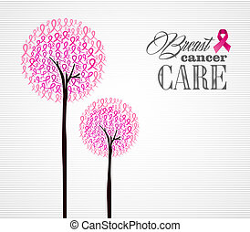 Breast cancer awareness conceptual forest with pink ribbons. EPS10 vector file organized in layers for easy editing.