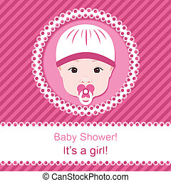 Baby girl shower Pink card template