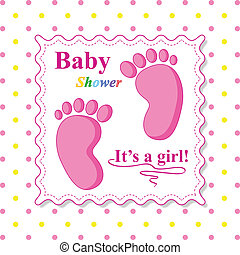 Sweet Baby Shower Card. Pink Card Template