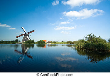 beautiful dutch windmill landscape - beautiful windmill...