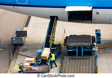 loading cargo on a big plane