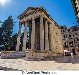 Roman temple of Augustus in Pula, Croatia