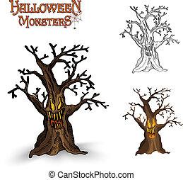 Halloween monsters spooky tree illustration EPS10 file -...