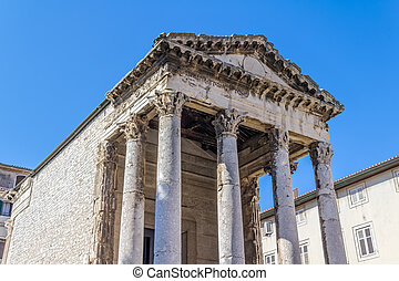 Roman temple - Detail of Roman temple of Augustus in Pula,...