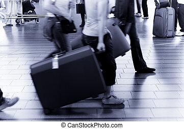pessoas, viajando, aeroporto