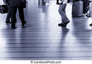 people traveling at the airport ( Used a long exposure for...