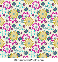 seamless yellow pink flowers on white background