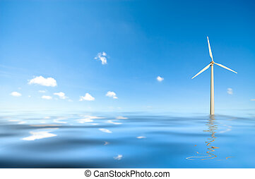 windmill in water - conceptual image of a windmill in water