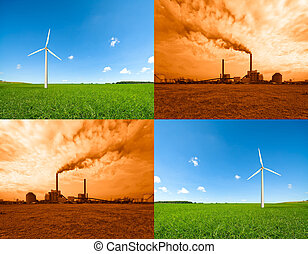 windmill and power plant - conceptual image of a power plant...