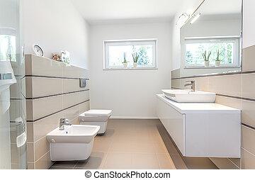 brillante, espacio, -, blanco, cuarto de baño