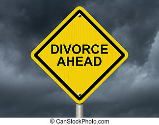 Warning of Divorce is soon - A road warning sign against a...