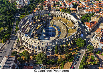 Arena in Pula - Roman time arena in Pula, detail, Croatia....