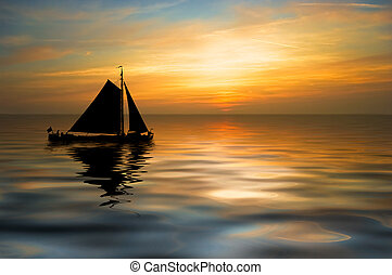 sailboat on a beautiful night - an old sailboat on a...