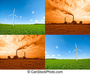 windmill and power plant - CONTEST - conceptual image of a...