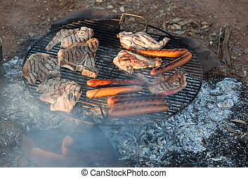 Barbecued meat and sausages Bush Camping Flinders Ranges...