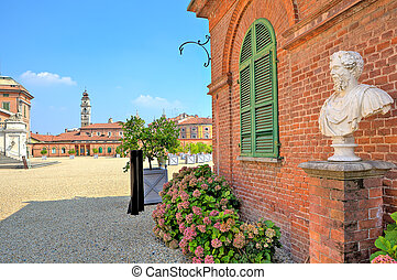 Bust on gravel and brick house in Piedmont, Italy - Bust on...
