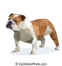 vektor, bulldogge, Freigestellt, weißes, hintergrund