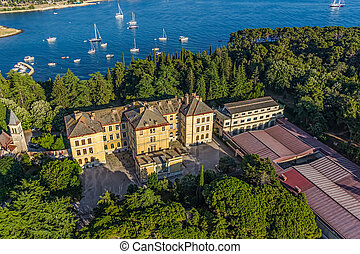 Aerial shoot of Rovinj, Croatia - Aerial shoot of Old town...