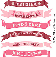 Breast Cancer Awareness Banners - A set of pink Breast...