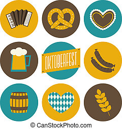 Oktoberfest Icons Collection - A set of nine flat design...