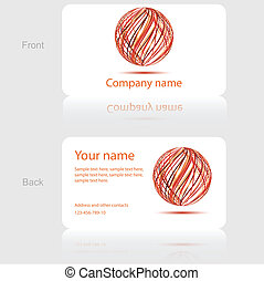 White Business Card with Abstract Circle