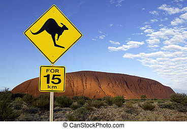 Ayers Rock (Uluru) - Australia - Road sign near Ayers Rock...