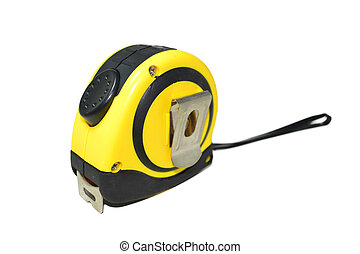 Tape measure - Yellow tape measure on white.