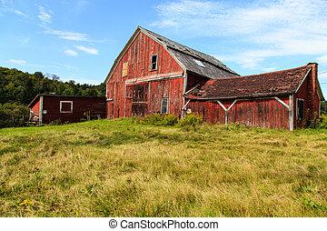 Old Falling Down Barn - An old falling down barn in rural...