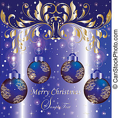blue Christmas background - Christmas bulbs with snowflakes...