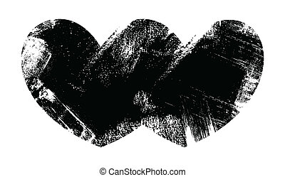 Two Hearts Together - Grunge Vector