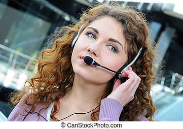 Call Center - Portrait of happy smiling cheerful support...