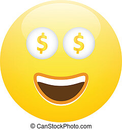 Smiley Face With Cash - Happy Face With Money Dollars In The...